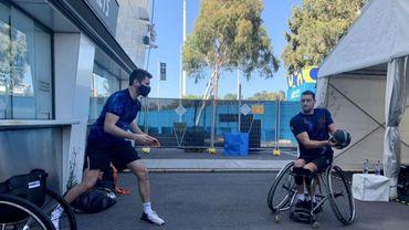 Séance d'exercices, avec Joachim Gérard et son entraîneur physique, Quentin Verriest
