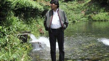 Le président bolivien, Evo Morales, en lice dimanche pour un troisième mandat, à Cochabamaba-Villa 14 dans le Chapare le 11 octobre 2014