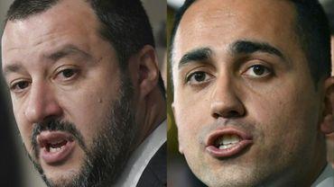 Le chef de la Ligue (extrême droite), Matteo Salvini (G) et Le chef du Mouvement 5 Étoiles (M5S, antisystème) Luigi Di Maio, le 5 avril 2018 au Quirinale, le palais présidentiel, à Rome
