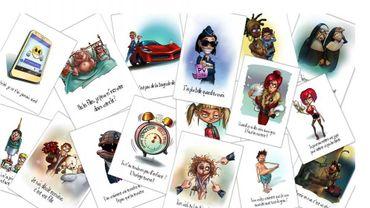 Quelques-unes des cartes qui font partie du jeu Takattak Trash