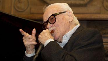 Toots Thielemans lors d'une fête d'anniversaire organisée pour ses 90 ans en février 2012 à La Hulpe.