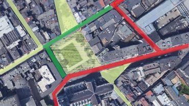 """En vert clair, le pietonnier; en vert foncé, les voiries à piétonnier; en rouge, les passages des voitures; au centre, le jardinet """"translaté""""...."""