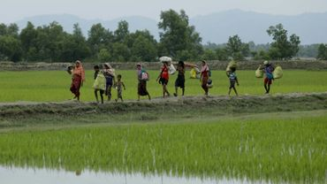 Des réfugiés rohingyas partis de Birmanie arrivent à Teiknaf, le 7 septembre 2017 au Bangladesh