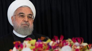 Photo prise le 26 septembre 2018 montrant le président iranien Hassan Rohani lors d'une conférence de presse à New York, en marge de l'Assemblée générale des Nations unies