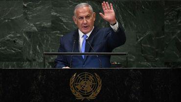Le Premier ministre israélien Benjamin Netanyahu prononce un discours devant l'Assemblée générale de l'ONU à New York le 27 septembre 2018