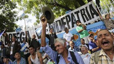 Manifestation de paysans à Managua le 10 décembre 2014 contre la construction d'un canal entre le Pacifique et la mer Caraïbe censé concurrencer celui de Panama