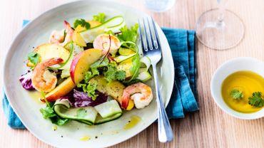 Salade de nectarines, crevettes et courgettes