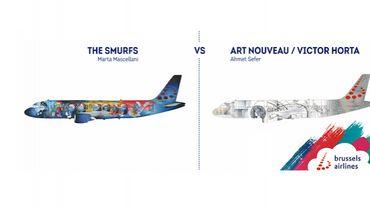 Brussels Airlines: les Schtroumpfs et l'Art Nouveau, finalistes pour le 5e Belgian Icon