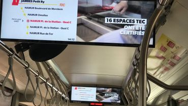 Namur: projet-pilote d'écrans embarqués pour les bus des TEC wallons