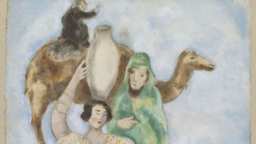 """Marc Chagall, """"Éliézer et Rébecca"""", 1931, huile et gouache sur papier, Musée national Marc Chagall"""