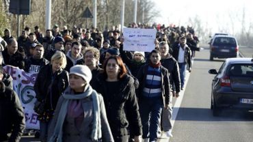 Marche des Afghans: près Affligem, les Afghans sont arrivés à Wetteren