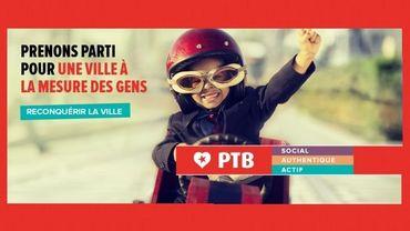 """Une affiche de """"pré-campagne"""" du PTB"""