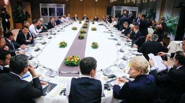 Dîner des chefs d'Etat lors d'un sommet européen à Bruxelles le 19 février 2016