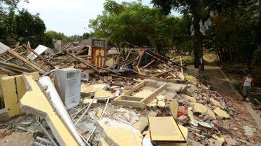 Les dégâts dans le village de Kayangan, dans le nord de Lombok