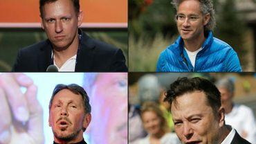 (g-d) Montage photo du 17 décembre 2020 de Peter Thiel, co-fondateur de PayPal,  Alex Karp,co-fondateur de Palantir, Elon Musk, patron de Tesla et Larry Ellison, fondateur d'Oracle