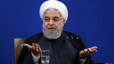 Photo distribuée par la présidence iranienne montrant Hassan Rohani lors d'une conférence de presse, le 14 octobre 2019