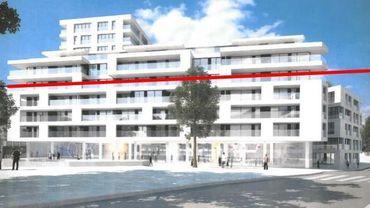 Le projet des architectes Jaspers-Eyers. Le collectif 1727 y a ajouté en rouge la hauteur du bâti existant.