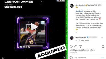 """Lancée début octobre par la société Dapper Labs, en partenariat avec la NBA, Top Shot permet d'acheter et de vendre ces extraits vidéos, appelés """"moments"""", à des prix variables selon leur rareté."""