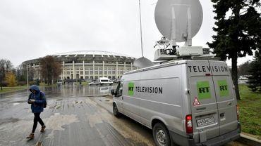 Un camion de transmission de la chaîne Russia Today, à Moscou, le 11 novembre 2017
