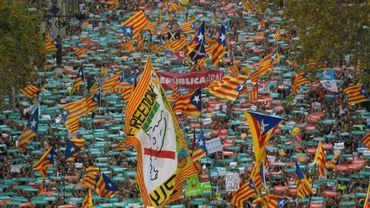 Manifestation pour l'indépendance de la Catalogne, à Barcelone le 21 octobre 2017