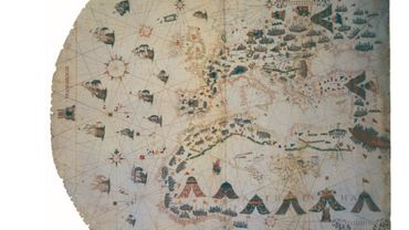 plate 7. JACOPO MAGGIOLO, NAUTICAL CHART OF Size of the original: 92 X 125 cm. Photograph courtesy of the THE MEDITERRANEAN AND THE ATLANTIC COAST, GENOA, 1561. (See p. 210.)