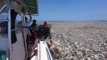 """Au large du Honduras, une """"île"""" de déchets en plastique flotte sur la mer des Caraïbes"""