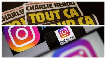 Couverture de Charlie hebdo de l'édition de cette semaine et image d'illustration d'Instagram