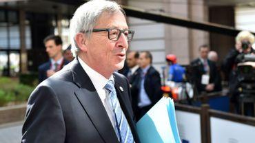 Jean-Juncker, président de la Commission européenne, arrivant au sommet extraordinaire