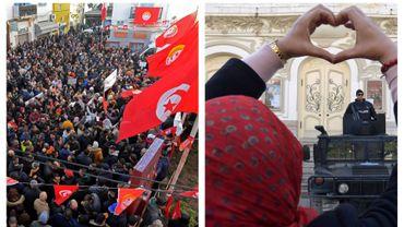 Manifestation pour les 9 ans de la révolution tunisienne, à Tunis, ce 14 janvier