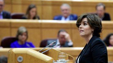 La vice-présidente du gouvernement espagnol Soraya Saenz de Santamaria à Madrid, le 26 octobre 2017