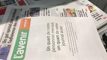 Un quart de l'information menacé peut-on lire sur la Une du quotidien L'Avenir Namur