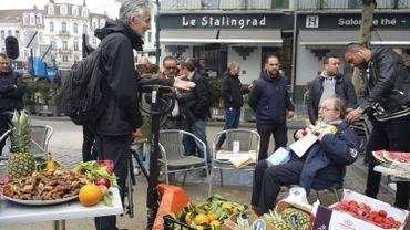 Mobilisation des commerçants contre le projet de la station de métro Toots Thielemans, le 2 mai 2019 dans le quartier Stalingrad.