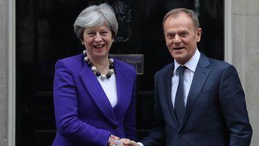 Theresa May et Donald Tusk, président du Conseil européen.