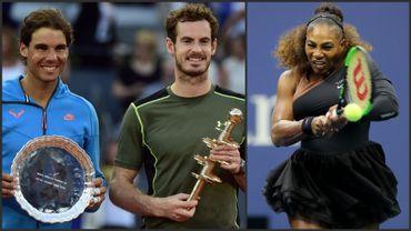 Rafael Nadal, Andy Murray et Serena Williams