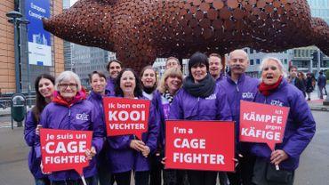 Une sculpture de cochon devant la Commission européenne pour interdire les cages