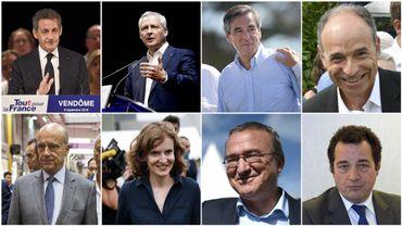 De gauche à droite, de haut en bas : Nicolas Sarkozy, Bruno Le Maire, François Fillon, Jean-François Copé, Alain Juppé, Nathalie Kosciusko-Morizet, Hervé Mariton, Jean-Frédéric Poisson.