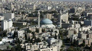 Vue d'Amman et de sa mosquée, en Jordanie