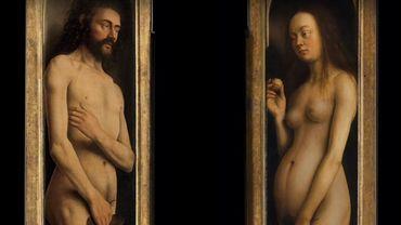 Pour le lancement de l'année Van Eyck, Adam et Eve, qui flanquent L'Agneau mystique depuis1432, ont été remplacés par des couples de toutes religions et orientations sexuelles.
