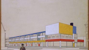 Theo van Doesburg, Perspective with final colour design, Shopping arcade with bar-restaurant, Laan van Meerdervoort, The Hague, 1924.