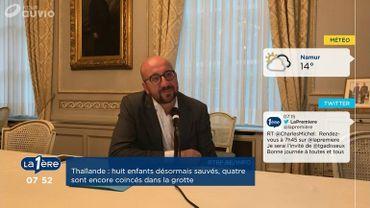 """Charles Michel: """"Les Diables rouges sont une carte de visite en or pour la Belgique"""""""