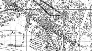 """Sur le croquis, on peut distinguer dans le cadre inférieur droit la """"Rambla"""" qui devrait parcourir le Boulevard Bertrand et la Place du Manège"""