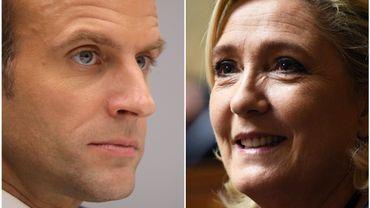 À droite, le président français Emmanuel Macron et à gauche, la leader du Front National, Marine Le Pen