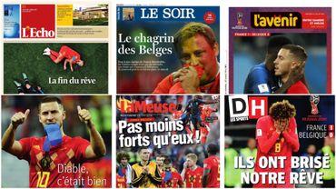 Les Unes de la presse au lendemain de la défaite contre la France en demi-finale de Coupe du monde.