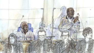 Croquis d'audience montrant les anciens bourgmestres rwandais Tito Barahira et Octavien Ngenzi, le 2 mai 2018, à la cour d'appel de Paris.