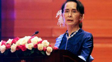 La dirigeante birmane Aung San Suu Kyi lors d'une cérémonie le 13 février 2018 à Naypyidaw