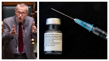 Le ministre Vandenbroucke à la Chambre en janvier 2021 et vaccin Pfizer-BioNtech (illustration)