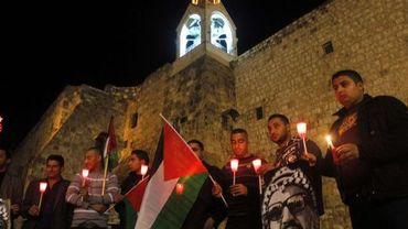 Veillée palestinienne de solidarité avec Gaza devant l'église de la Nativité à Bethléem