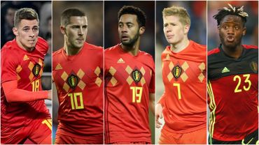 Thorgan Hazard, Eden Hazard, Mousa Dembélé, Kevin De Bruyne et Michy Batshuayi