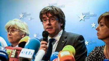 Le président destitué de Catalogne Carles Puigdemont à Bruxelles le 31 octobre 2017