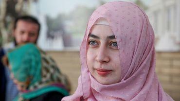 Luiza Muminjonova, étudiante musulmane exclue de l'université pour avoir refusé de retirer son voile en cours, photographiée le 13 mars 2019 à Tachkent